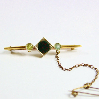 Antique 15ct Yellow Gold Bloodstone, Peridot and Topaz Bar Brooch