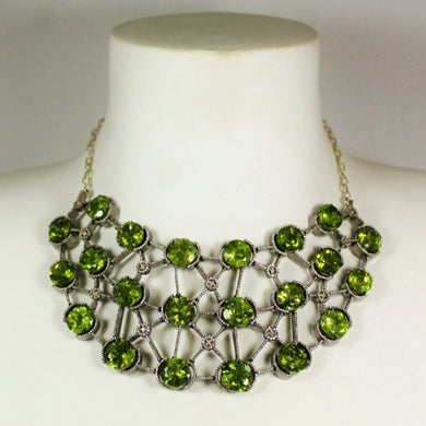 18ct Gold Black Rhodium Plate Peridot and Diamond Collar Necklace