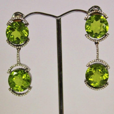 18ct Gold Black Rhodium Plated Peridot and Diamond Stud Drop Earrings