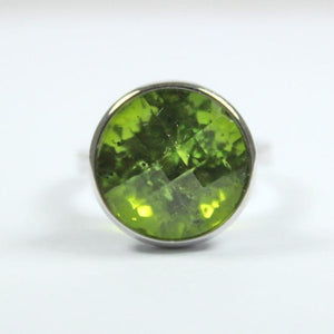 18ct White Gold Checkerboard Cut Peridot Ring