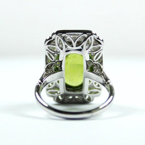 9ct White Gold 10.35ct Cabochon Peridot and Diamond Milgrain Detail Cocktail Ring