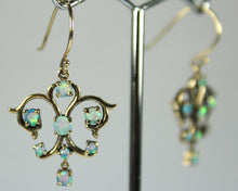 9ct Yellow Gold Ethiopian Opal Filigree Earrings
