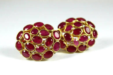 Sterling Silver Gold Plate Ruby Cluster Earrings