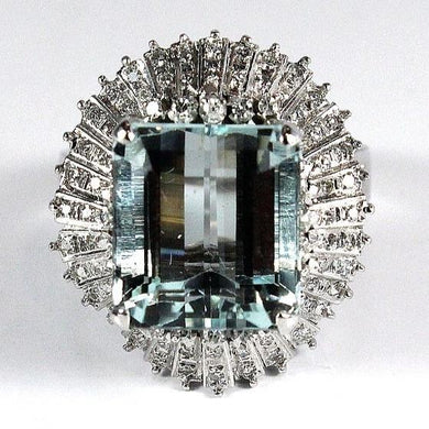 9ct White Gold Aquamarine Ballet Skirt Diamond Cocktail Ring