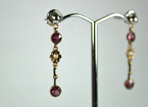Victorian 9ct Rose Gold Garnet and Seed Pearl Stud Drop Earrings