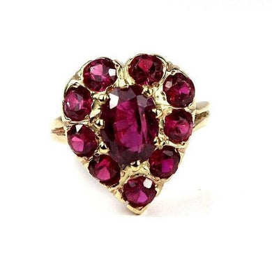 14ct Yellow Gold Ruby Heart Cluster Ring