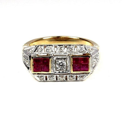 9ct Yellow Gold Diamond and Ruby Deco Style Ring