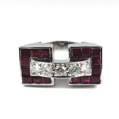 9ct White Gold Diamond and Ruby Deco Style Dress Ring
