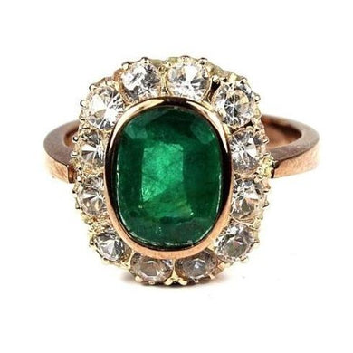 9ct Rose Gold Emerald and White Sapphire Ring