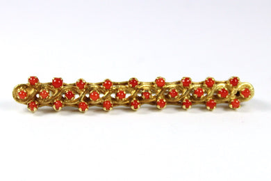 Vintage 18ct Yellow Gold Momo Coral Bar Brooch