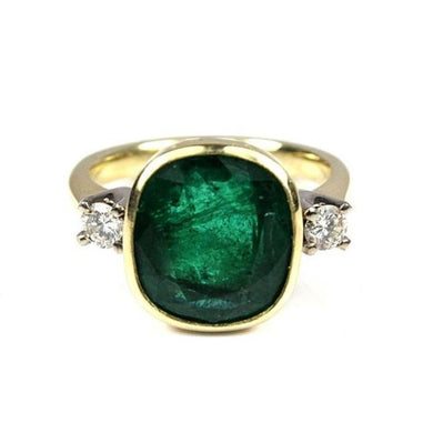 18ct Yellow Gold Colombian Emerald and Diamond Ring