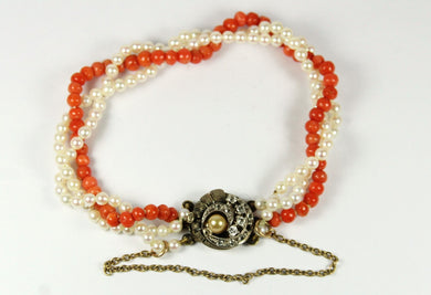 Vintage 9ct Yellow Gold Seed Pearl, Momo Coral and Rock Crystal Bracelet