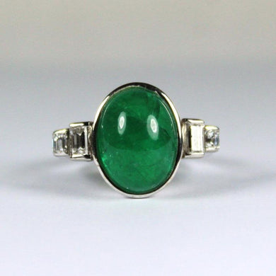 Vintage 14ct White Gold Cabochon Emerald and Diamond Dress Ring