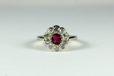 Vintage 18ct Yellow Gold Platinum Ruby and Diamond Daisy Cluster Ring