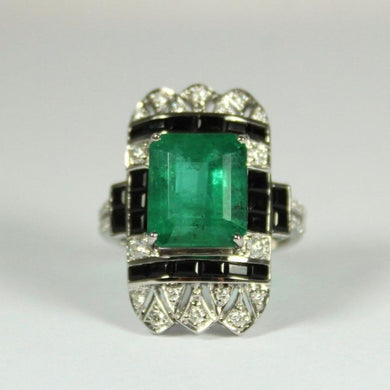 9ct White Gold Emerald, Diamond and Onyx Cocktail Ring