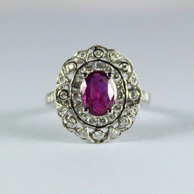 9ct White Gold 1ct Natural Ruby and Diamond Dress Ring