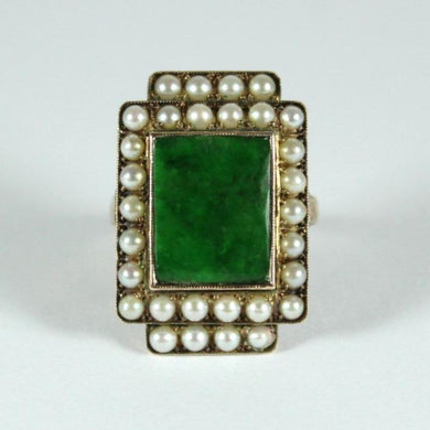 1930s Original 14ct Yellow Gold Jadeite and Seed Pearl Cocktail Ring