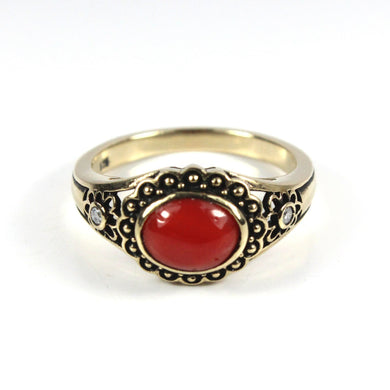 9ct Yellow Gold Coral and Diamond Engraved Ring
