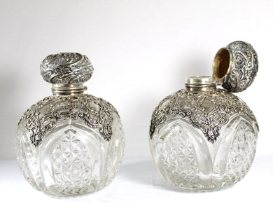 Antique Hardy Brothers Sterling Silver Lead Crystal Perfume Bottles