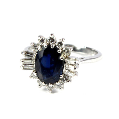 18ct White Gold 2ct Royal Blue Sapphire with Baguette Diamonds Ring