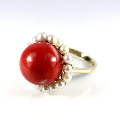 Vintage 14ct Yellow Gold 12mm Momo Coral and Pearl Cocktail Ring