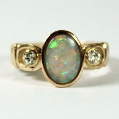 9ct Rose Gold Opal and Diamond Ring