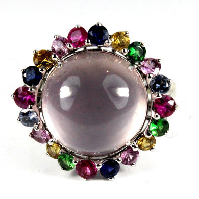 9ct White Gold Cabochon Rose Quartz and Assorted Sapphire Dress Ring