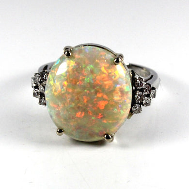 1930s Original 18ct White Gold 10ct Mintaby Opal and Diamond Ring