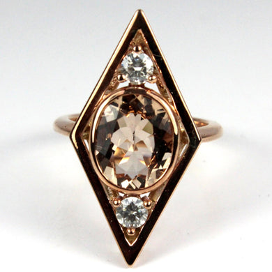 9ct Rose Gold Morganite and Diamond Cocktail Ring