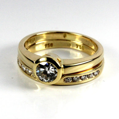 18ct Yellow Gold Solitaire Diamond Ring and Wedding Band