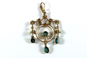 Edwardian 9ct Yellow Gold Turquoise and Seed Pearl Pendant