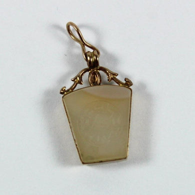 Antique 9ct Yellow Gold Carved White Agate Pendant