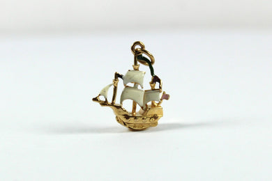 Vintage 9ct Yellow Gold Enamel and Gemstone Galleon Ship Pendant