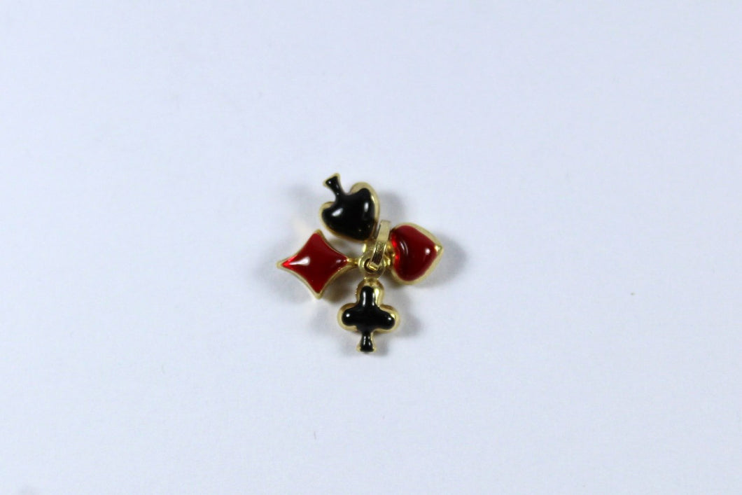 Vintage 9ct Yellow Gold Red and Black Enamel French Card Suit Pendant