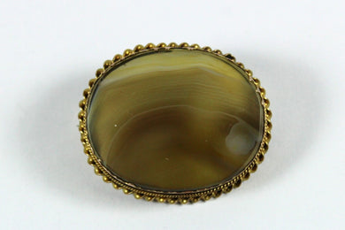 Vintage 9ct Yellow Gold Banded Agate Brooch