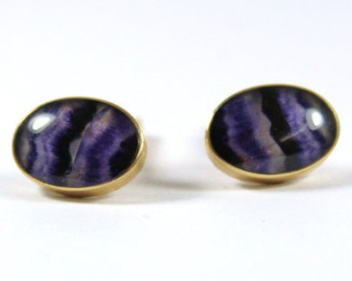 9ct Yellow Gold Banded Fluorite Crystal Cufflinks
