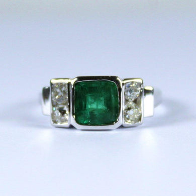9ct White Gold Emerald and Diamond Deco Style Ring