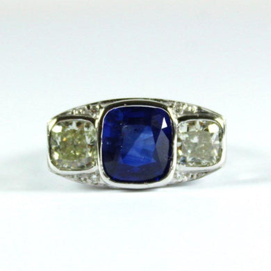 18ct White Gold 4.21ct Deep Cornflower Blue Sapphire and Diamond Ring