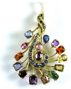 18ct Yellow Gold Assorted Gemstone Deco Brooch
