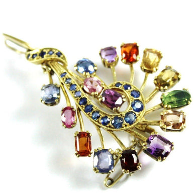 Antique 18ct Yellow Gold Assorted Gemstone Brooch