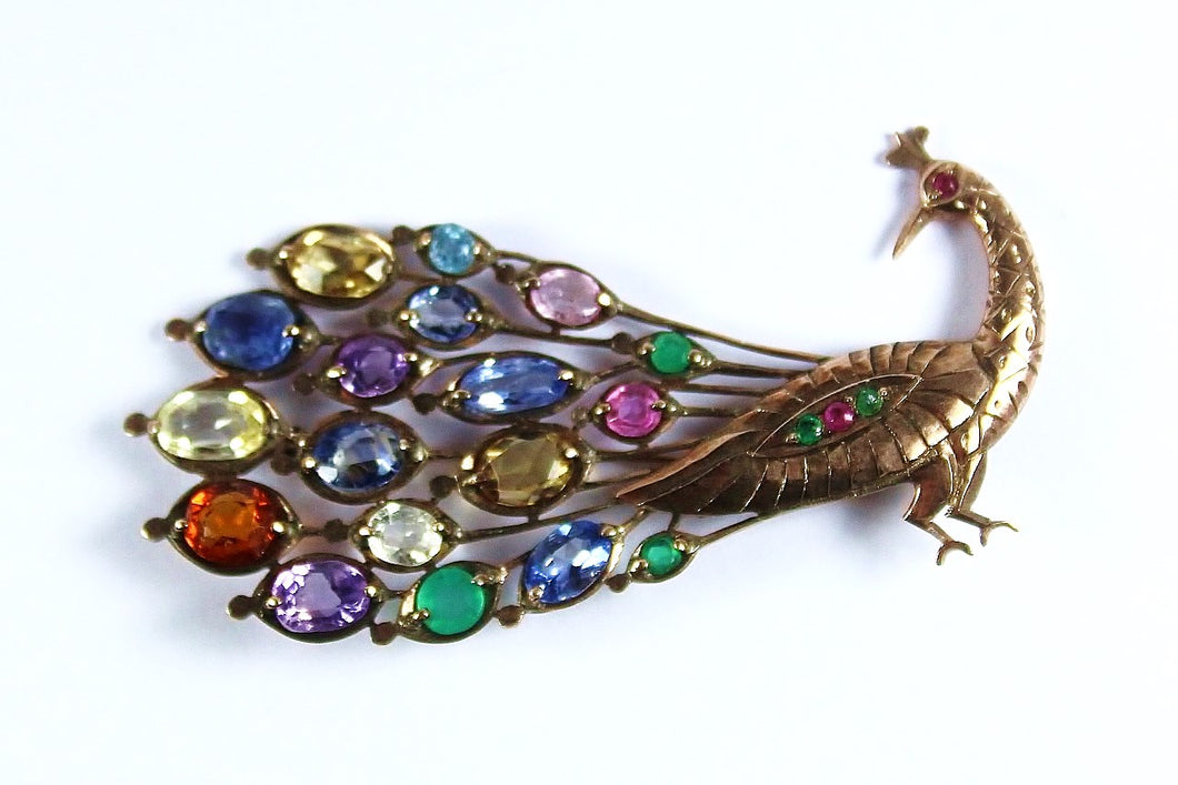Vintage 9ct Rose Gold Assorted Gemstone Peacock Brooch