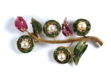 Vintage 9ct Yellow Gold Green and Pink Tourmaline and Cultured Pearl Brooch