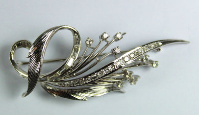 Vintage Modernist 14ct White Gold Diamond Brooch