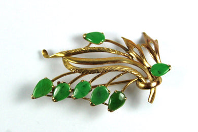 Vintage 9ct Yellow Gold Jadeite Brooch