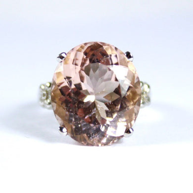 9ct White Gold 18ct Morganite Cocktail Ring