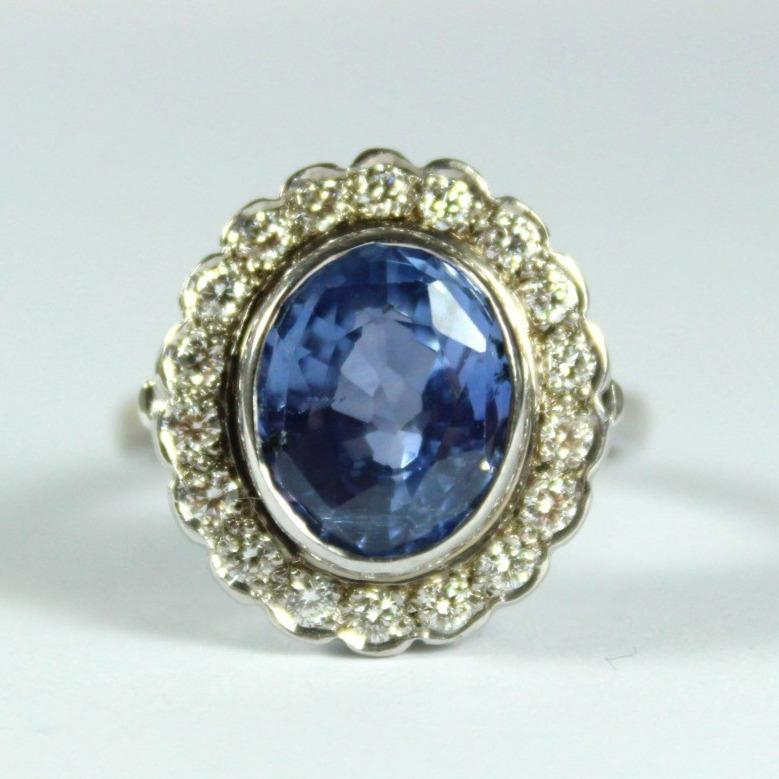 9ct White Gold 4.86ct Sapphire and Diamond Ring