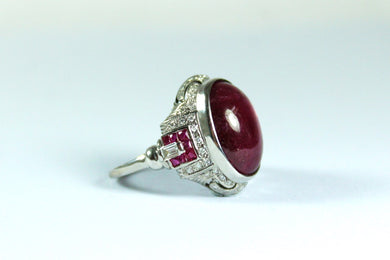 Deco Style 9ct White Gold 10.64ct Star Ruby and Diamond Cocktail Ring