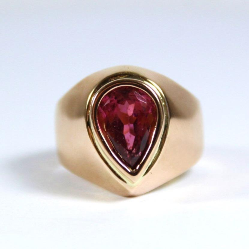 18ct Rose Gold Pear Shaped Pink Tourmaline Ring
