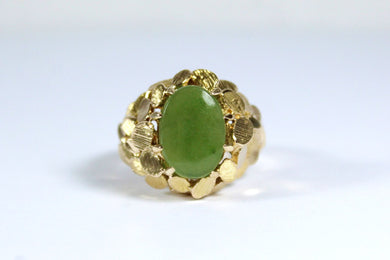 Vintage 9ct Yellow Gold Olive Jade Dress Ring