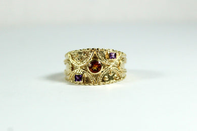 Vintage 9ct Yellow Gold Citrine and Amethyst Filigree Ring